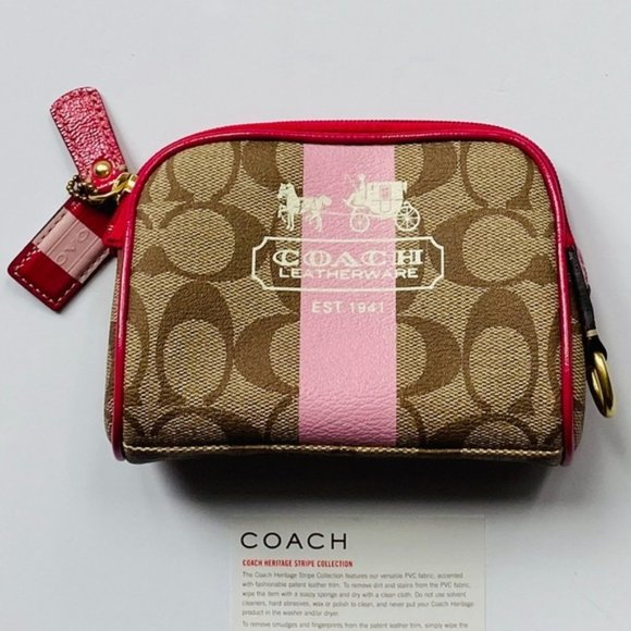 COACH Pink Heritage Stripe Cosmetic Case NWOT